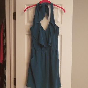 Teal Halter Dress with POCKETS!